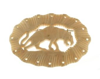 SALE--Carved Bone Wildcat Pin