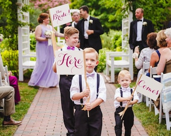 3 Wedding Signs Here Comes the Bride Ring Bearer Package | Flower Girl Set of 3 Wedding Flags | Here - Comes - the Bride Modern Script 1113