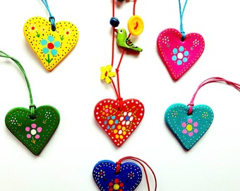 Heart folk art necklace, heart necklace, folk art necklace, folk style necklace