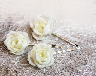 71 Flower hair pin, Ivory wedding, Hair Clip, Floral hair pin, Bridesmaid flower hair pin, Bridal flower hair pin Ivory flower hair pin Rose