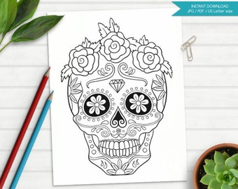 Adult Coloring Book, Skull Coloring Page, Sugar Skull Coloring, flowers, diamond, swirls, halloween, teraphy, instant download, printable