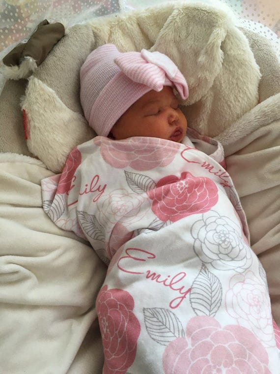 Floral swaddle blanket personalized baby name swaddle blanket: