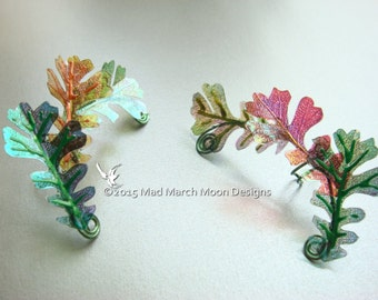 Oak Leaf Ear Cuffs, handmade iridescent acetate oak leaves, no piercing needed.