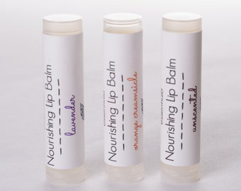 Set of 3 Nourishing Lip Balms with Vitamin E, Shea and Cocoa Butter, Choose Your Flavors
