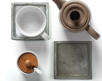 Square Concrete Coasters/desk organizer/Organiser