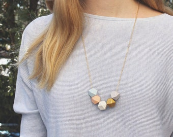 Geometric Wood Necklace // Gold Peach Grey Faceted Wooden Bead Necklace // Hand Painted // Hedron Necklace Everyday // Statement Necklace