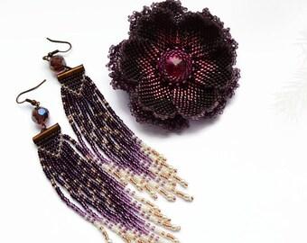 Statement Brooch Purple earrings Fringe Long Boho Earrings Statement earrings Tassel earrings Fashion jewelry