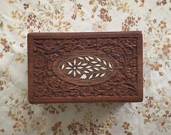 Vintage Carved Wood Trinket Box