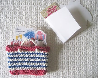 Gift Card tote Holder,  Crocheted Mini Red White Blue Tote and gift card Sleeve, Chose Birthday, Baby shower, Wedding, or Housewarming