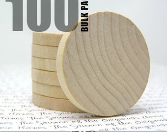 100 Round 1.5 Inch Wood Disks for Pendants, Magnets, Scrapbooking, and More. FLAT SIDES. Bulk Lot.