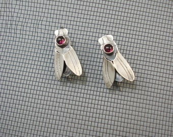 Housefly Earrings with Garnets