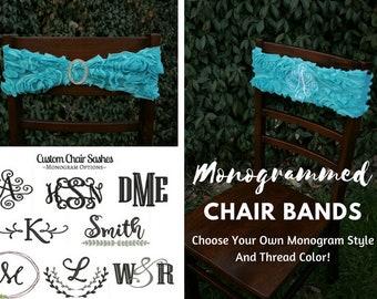 Aqua Curlique Stretch Chair Band~Silver Rhinestone Buckle Clasp~Add Monogram Personalization!~Wedding~Party
