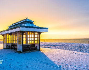 Worthing beachside Bench in the snow Photo / Poster / Canvas Colour