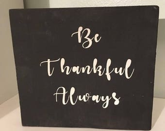 Wooden Sign, Custom Sign, Thankful, Hand Painted Sign