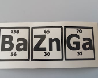 big bang theory bazinga car decal free shipping periodic table of elements - Periodic Table Name Plate