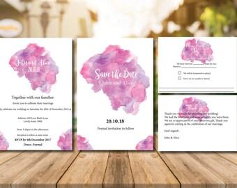 Printable Colour Splash Wedding Invitation Set