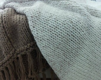 Neutral knitted throw - knitted afghan - throw - knitted blanket