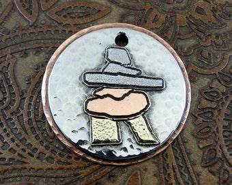 Inukshuk Dog ID Tag - Custom Pendant, Canada, Alaska ID Tag