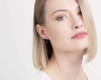 Minimalist earrings, triangle earrings, triangle silver earrings, geometric earrings, silver earrings, hoop earrings, small earrings