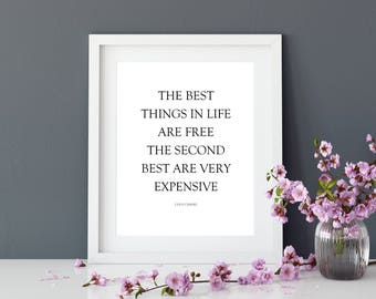 Chanel Quote | Coco Chanel | Prints | Home Decor | Wall Decor | Wall Art | Gift for her | Real Foil