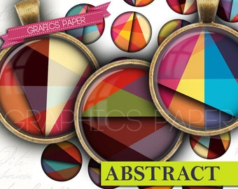 "Circles geometrics Round images - Digital Collage Sheet - td416 - 1.5"", 1.25"", 30mm, 1 inch circles Instant Printable Images Bottle caps"