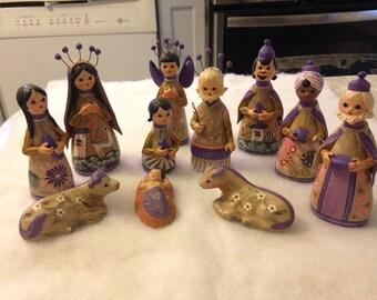 Mexican Nativity Set / Christmas Holiday Decorations / Religious / Jesus / Manger /Xmas
