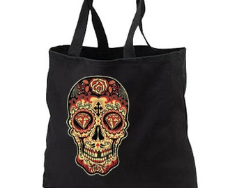 Day of the Dead Sugar Skull Cotton Tote Bags Shop Gifts Events Gothic