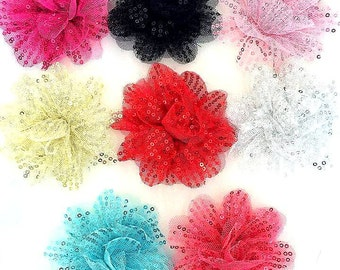 5 Pcs of 3 inches Glitter Fluff sequin flower -  Choose Colors