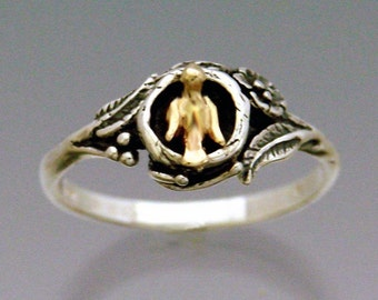 Bird In Nest Ring Bi-metal 14k & Sterling