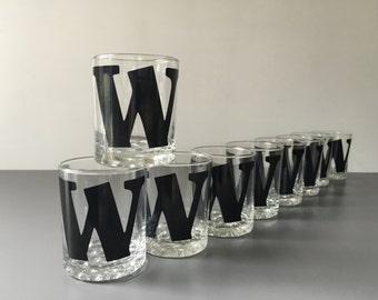 vintage typography Letter W glassware set of 9 highball barware