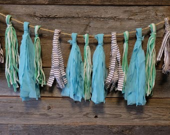 Tassel Strand in Ocean Hues - Decoration - Decor - Fabric - Bunting - Garland