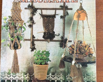 Mad About Macrame 1975 Pattern book, 31 pages , handbag, owls, wall hangings,  necklaces