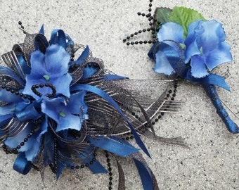 Blue and Black Silk Wrist Corsage and Boutonniere Set