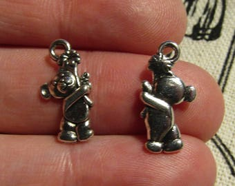 1 silver charm bears 19mmx9mm