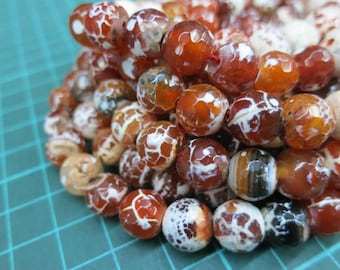 White Brownish Red Agate 10mm Round Beads faceted