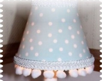 Baby Blue with White POLKA DOTS Mini Lampshade for a Childs Room or Cottage Chic Home Decor