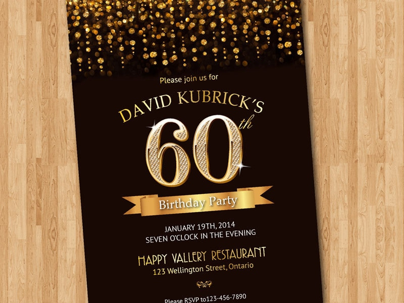 60th Birthday Invitation. Gold glitter diamond number birthday