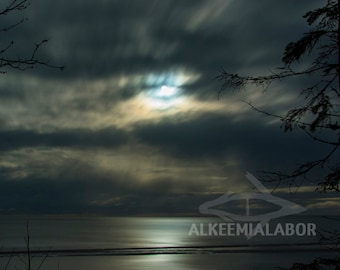 Eye in the sky - fine art photography, instant download printable art, night sky, moonlight, wall art, home decor, seascape, long exposure