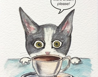 Tuxedo Cat with Coffee Watercolor Painting - 5x7 Watercolor Cat PRINT - Silent Mylo Tuxedo Cat - Funny Cat Story - Gift for Cat Lover