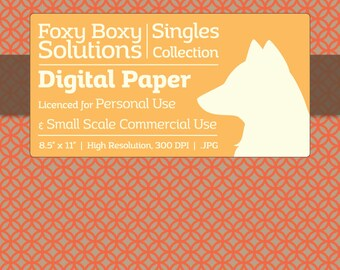 Circle Pattern on Kraft Digital Paper - Single Sheet in Orange - Printable Scrapbooking Paper