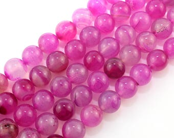 12mm Agate Beads Hot Pink Round  Agate Gemstone Beads for DIY Jewelry Making ----about ---15inch --One Full Strand-NC166