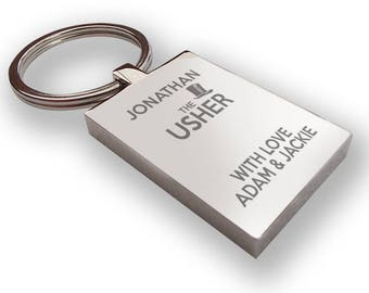 Personalised engraved USHER keyring wedding gift, thank you favour, top hat - HA1