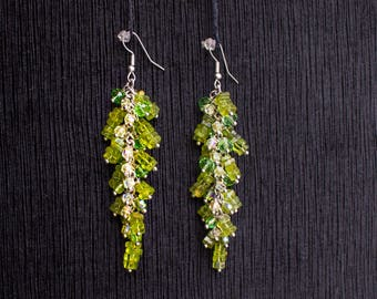 Earrings with Peridot and Crystals handmade