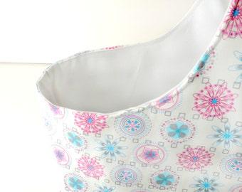 SALE - Fabric Storage Basket - Diaper Caddy - Mod Spiral