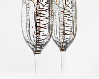 Personalized Wedding Glasses, Birch Tree Champagne Flutes - Set of 2 Hand Painted Fall Wedding Toasting Flutes