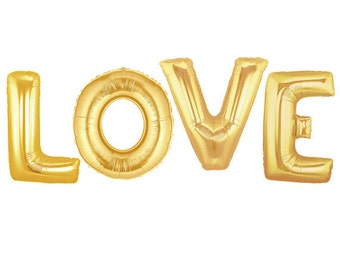 LOVE Gold Balloons, Mylar Love Balloon, Wedding Balloon, Gold Mylar, LOVE Balloon