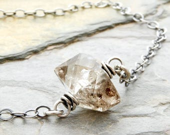 Minimalist Herkimer Diamond Necklace - Herkimer Quartz Necklace - Clear Quartz with Copper Inclusion - Sterling Silver - #4828