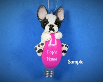 Black and white Pied French BullDog Christmas Holidays Light Bulb Ornament Sally's Bits of Clay PERSONALIZED FREE with your dog's name