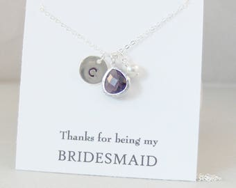 Thanks For Being My Bridesmaid,Bridesmaid Necklace,Purple Bridesmaid,Bridesmaid Jewelry,Initial Necklace,Amethyst Necklace,Bride,Wedding