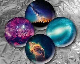 """Galaxy -  15 Images in 1 Inch Circles 4"""" x 6"""" Digital Collage Sheet For Bottle caps, Cupcake Toppers"""